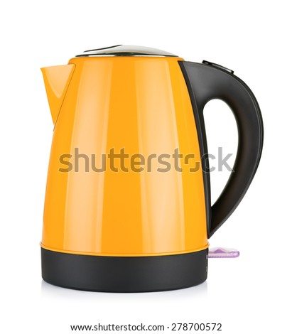 modern orange electric kettle, isolated on white - stock photo