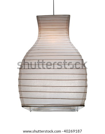 modern paper lamp isolated on white. clipping path included - stock photo