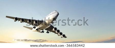 Modern Passenger airplane flight in sunset - stock photo