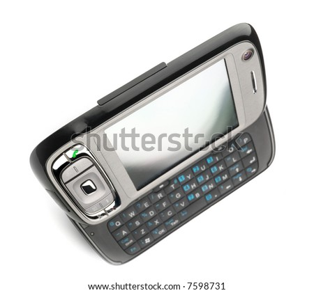 Modern PDA with keyboard. Exaggerated perspective, shallow DOF