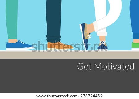 Modern people wearing stylish shoes are waiting something. Background with motivated text. Free font Lato - stock photo