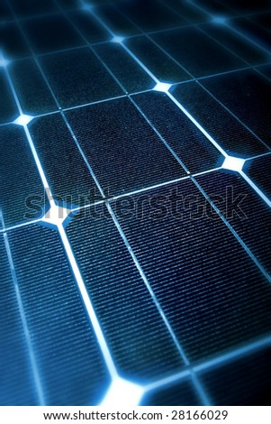 Modern Photovoltaic cells in a solar panel in a perspective view - stock photo