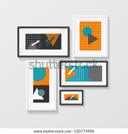 Modern Picture Frame Set Hanging on Wall for the House and Office. illustration