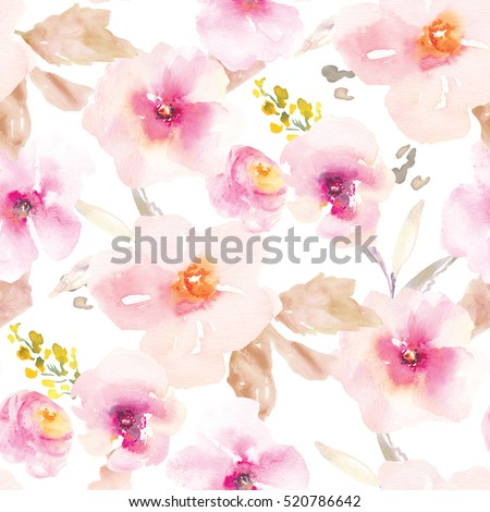 Modern Pink and Purple Floral Pattern. Flower Pattern. Repeating Flower Pattern. Pink Floral Pattern.