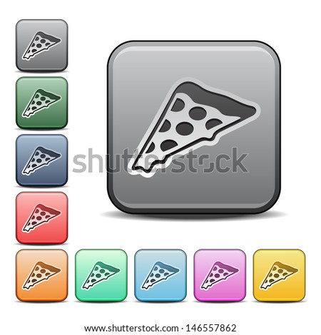 Modern Pizza Icon with Color Variations.  Raster version, vector also available. - stock photo