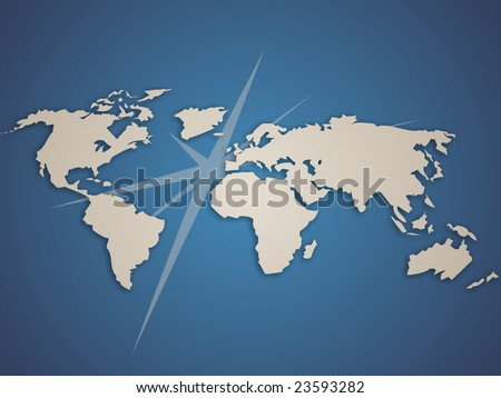 Modern planisphere with arrows comming out from Europe. - stock photo