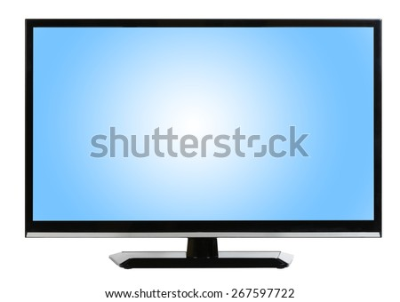 Modern plasma - LCD TV set isolated at white background - stock photo