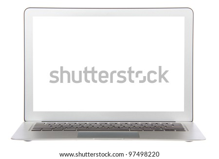 Modern popular laptop keyboard with white screen isolated on a white background - stock photo