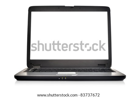 Modern portable laptop computer and monitor.  Blank screen