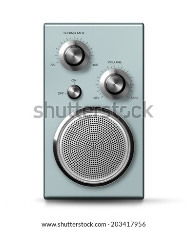 Modern portable vintage radio retro style front, isolated on white - stock photo