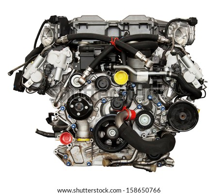 Modern powerful engine isolated on white. Clipping path included. - stock photo