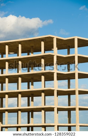 Modern prefab structure waiting to be finished - stock photo