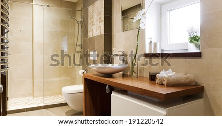 Modern private bathroom interior - stock photo