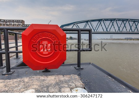 Modern public Life Buoy on the quay of the river Waalkade in Nijmegen, Netherlands - stock photo