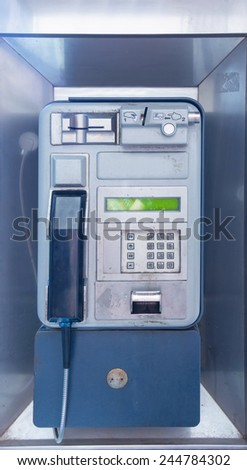 modern public telephone booth - stock photo