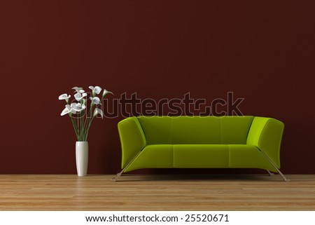 Modern purple sofa with calla lily - stock photo