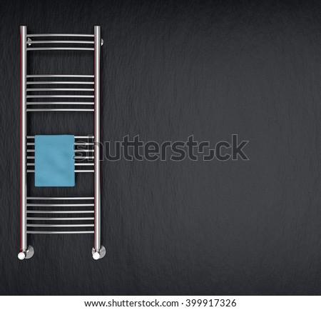 modern radiator for bathroom with empty space at the right (3d render) - stock photo