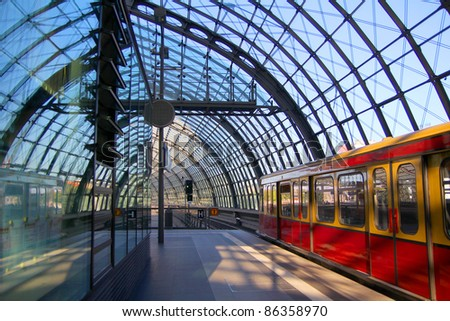 modern railway station - stock photo