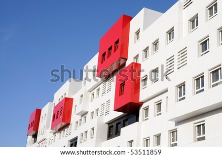 Modern Red and White Residential House - stock photo