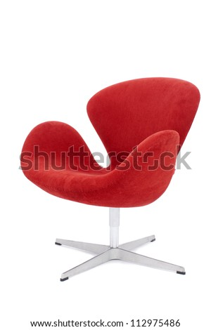 modern red chair isolated on white background - stock photo