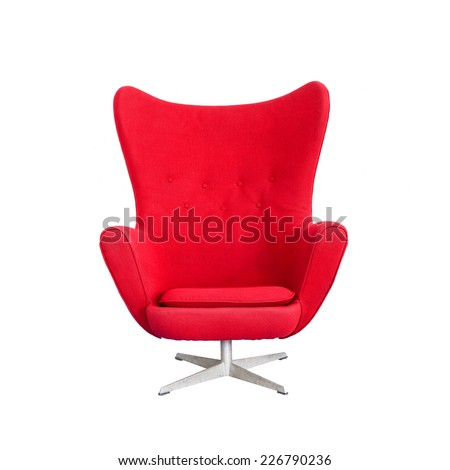 Modern Red Chair isolated on white background (with clipping path) - stock photo