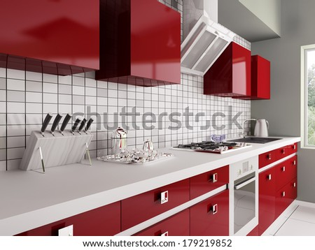 Modern red kitchen with sink,gas stove interior 3d - stock photo