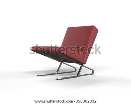 Modern red leather armchair - stock photo