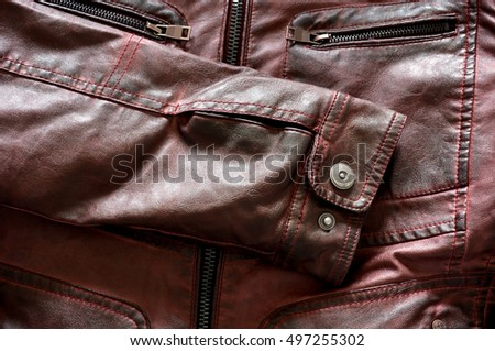 modern red leather jacket for men with zippers and buttons