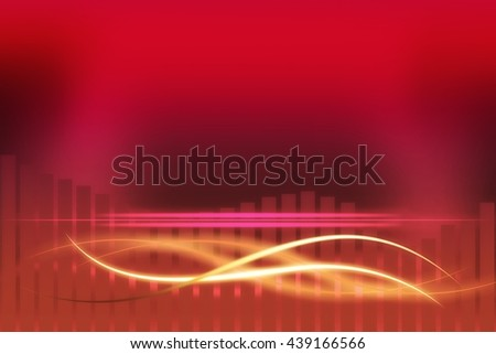 Modern red, orange and pink background with abstract smooth lines - stock photo