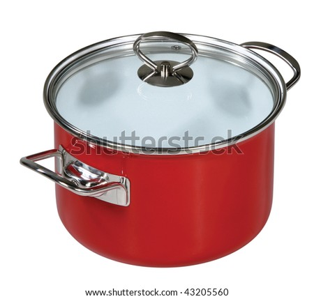 Modern red saucepan on a white background - stock photo