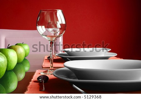 Modern red Table Setting - stock photo