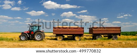 Modern red tractor on the agricultural field on sunny summer day ready to transport wheat during harvest.