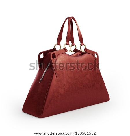 Modern Red women bag isolated on white background - stock photo