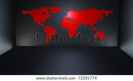 Modern red world map kind wallpaper stock illustration 72205774 modern red world map as a kind of wallpaper in a dark modern room gumiabroncs Choice Image