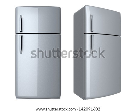 Modern refrigerator - isolated on white background - stock photo