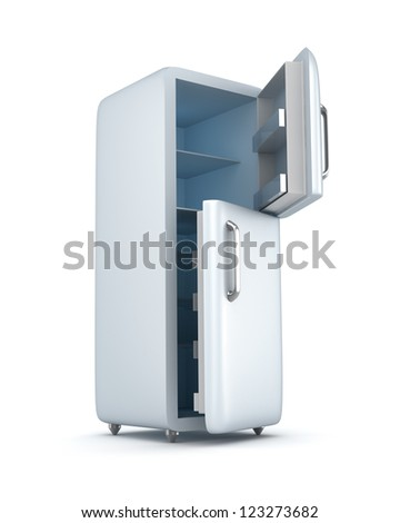 Modern refrigerator with opened doors. Isolated on white - stock photo