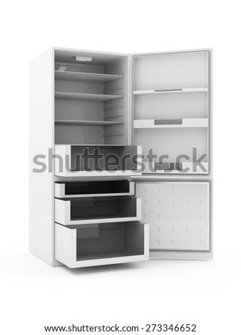Modern Refrigerator with Opened Doors isolated on white background - stock photo