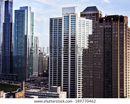 Modern residential and office Buildings in Chicago. Cityscape - stock photo