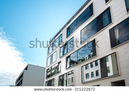 modern residential architecture house in berlin - stock photo
