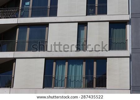 modern residential building facade - Berlin, Kreuzberg - stock photo