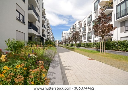 Modern residential buildings, Facade of new low-energy houses - stock photo