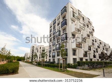 Modern Residential Buildings Facade Of New Low Energy Houses