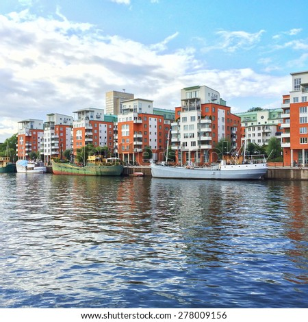 Modern residential neighborhood with colorful buildings. Stockholm, Sweden. - stock photo