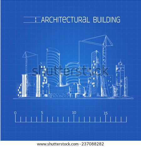 Modern residential urban business district buildings and industrial edifice cityscape architectural technical drawing blue print  illustration - stock photo