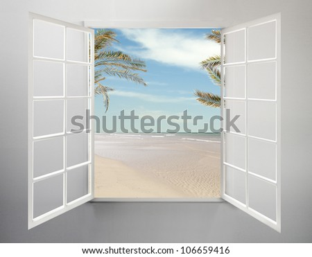 Modern residential window open and beach with palm trees behind - stock photo