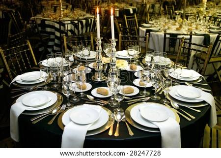Modern restaurant design table for sophisticate dinner - stock photo