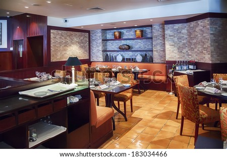 modern restaurant in china style  - stock photo
