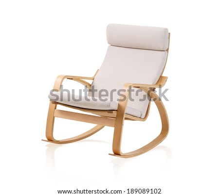 modern rocking chair isolated on white background - stock photo