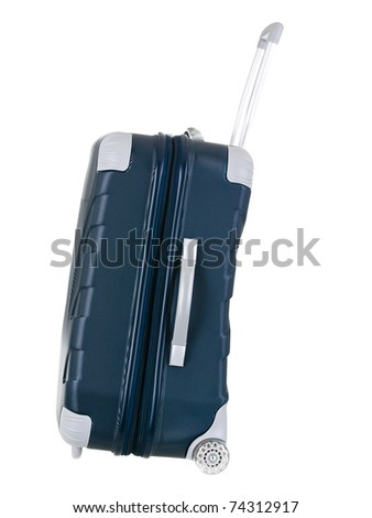 Modern rolling shell luggage side view on pure white background - stock photo