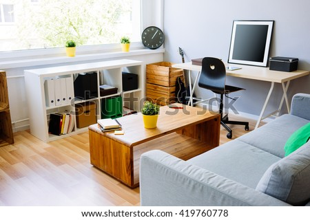 Modern Room, Home Office Interior. Room With Sofa, Desk, Chair, Small Part 87
